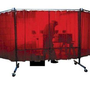 ekran spawalniczy mobilny czerwony kurtyny spawalnicze