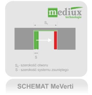 kurtyna paskowa przesuwna - system MeVerti ze stałym pasem końcowym